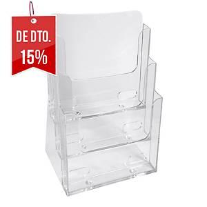 Expositor de secretária Exacompta - A5 - 3 compartimentos - transparente