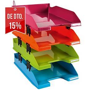 Pack 4 tabuleiros de secretária Exacompta Arlequín - poliestireno - sortido