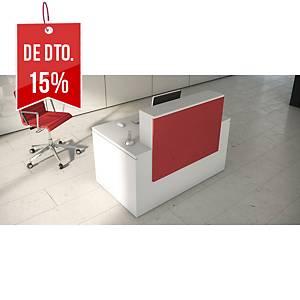 Balcão de receção Ofitres Luxe - larg. 1600 mm - vermelho/branco