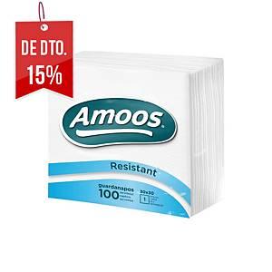 Pacote 100 guardanapos de papel Amoos - Folha simples - 300 x 300 mm-branco