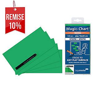 Notes Magic Chart - électrostatiques - 10 x 20 cm - vertes - bloc de 100