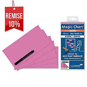 Notes Magic Chart - électrostatiques - 10 x 20 cm - roses - bloc de 100