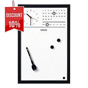 BI-OFFICE MAGNETIC BOART W/CLOCK BLACK