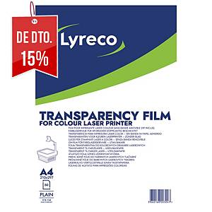 Caixa 50 folhas acetato de retroprojetor Lyreco para impressora laser cores - A4