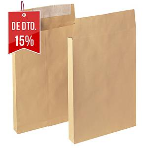 Caixa de 100 envelopes kraft de 30 mm - 250 x 353 mm - 120 g/m² - banda adesiva