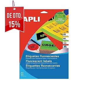 Caixa 20 etiquetas autocolantes Apli 2881 - 210x297mm - verde fluorescente